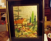 Vintage 1930s Crewel Cabin Charming Cottage Garden Framed Picture Reverse Painted Glass 8011