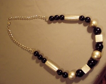Vintage 1980s Laura Ashley Runway Statement Necklace Big Bold Bead Design Silver Black 8070