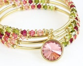 Memory Wire Wrap Bracelet Parisian Cottage Chic Colors Sparkly Jewelry Gold Bracelet with Swarovski Crystal Pink Rose Olive Green Plus Size