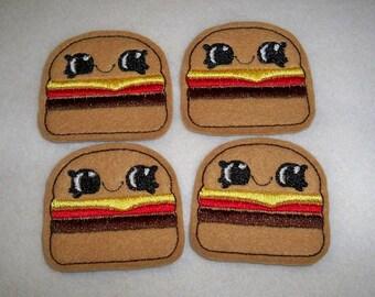 Feltie Machine Embroidered Hand made (4) Felt Hamburger CUT Embellishments / appliques