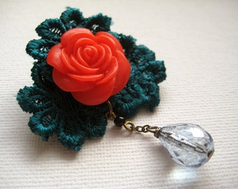 Red rose green lace rosette brooch pin with blue glass drop - Evelyn