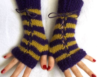 Fingerless Gloves, Cabled, Warm, Wrist Warmers, Violet, Chartreuse, Purple, Fingerless Mittens