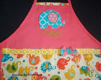 PERSONALIZED Girls Apron- Cooking Apron - Play Apron -Appliqued Elephant in Coral, Teal, Goldenrod and Sage