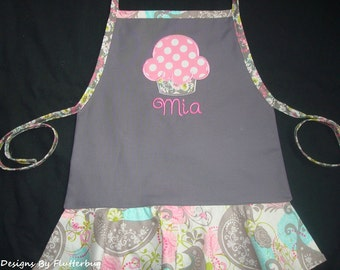 PERSONALIZED Girls Apron- Childs Play Apron -Cooking Apron- Cupcake Apron -Gray, Pink and Blue with Cupcake Design