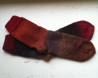 Hand Knit Soft And Warm  Women's  Superwash Wool  Socks, Size  8.5  - 9  (9.75 inches length)
