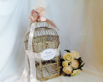 Champagne Gold Birdcage Wedding Card Holder. Gold, blush pink birdcage.Large Champagne Gold Wedding Birdcage Card Holder, Wedding Card Box.