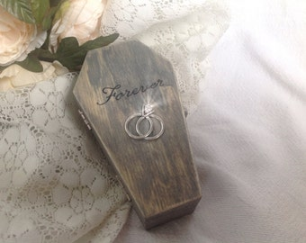 Coffin Ring Pillow box alternative. Till Death Do us Part. Casket Box