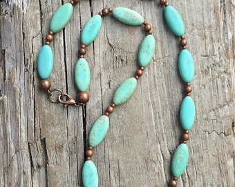Turquoise necklace, turquoise jewelry, stone necklace, blue green necklace, boho chic jewelry, boho chic necklace, copper turquoise jewelry