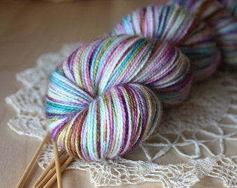 Hand Dyed Sock Yarn /  Teal Berry Rose Calypso / Superwash Merino Wool Nylon Variegated Fingering Weight Yarn