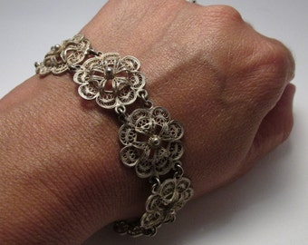 Antique 800 SILVER filigree LOVELY Beaded Flower Link wide BRACELET 7.5 inch