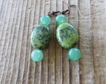 Green Sesame Jasper and Aventurine Beaded Earrings
