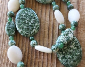 Green Tree Agate and Aventurine Beaded Necklace