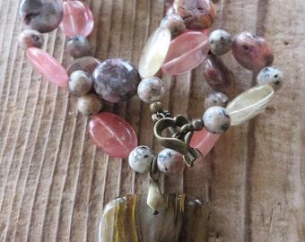 Rhodonite Quartz and Jasper Beaded Necklace with Cherry Blossom Quartz Pendant