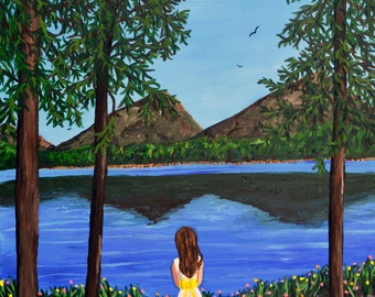 Original landscape Painting - At the Mountain Lake
