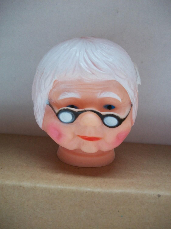 Vintage Plastic Vinyl Granny Apple Doll Head