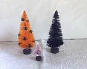 Set of Three Miniature Hand Dyed Decorated Halloween Bottle Brush Trees Mixed