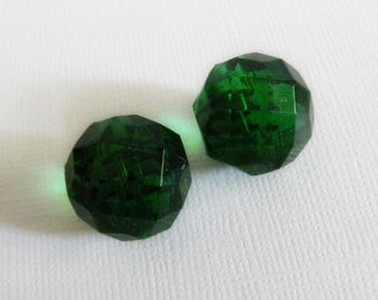 Vintage Emerald Green Glass Buttons