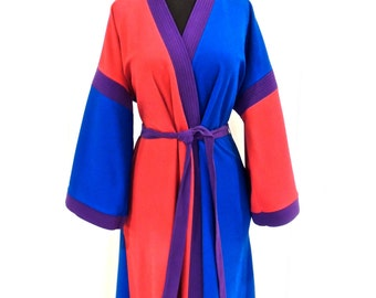 vintage colorblock robe - 1960s red/blue/purple robe
