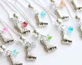 Ice Skating Party Favors 10 Necklaces, Girl Necklace, Ice Skate Favor, Girl Gift, Ice Clear Crystal Balls Assorted