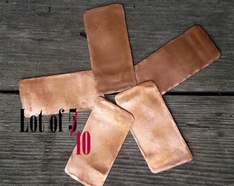 Lot of 10 Rectangular Copper Stamping Blanks /Metal Stamping Blanks/Stamping Tags/Recycled Metal Blanks/Upcycled Jewelry Findings Charms
