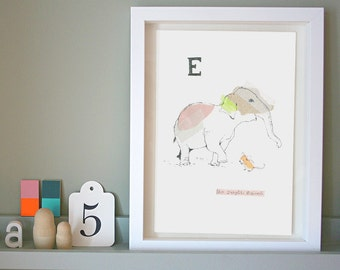 Energetic Elephant, Animal Alphabet Gicleé print with Neon Tape