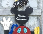 Mickey Mouse Clubhouse inspired theme door hanger- playroom sign