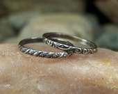 Set of 2 Stacking Bands - 2mm Swirl and Twist Patterned Sterling Silver Stacking Band - Sizes 4-10 US