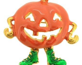 Halloween Enamel Yellow Pumpkin Brooch Pin 1004921