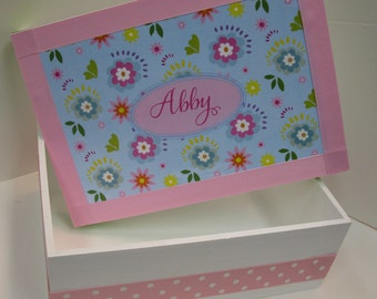 Little Girl's Flowered Keepsake Box - Pinks, Purples and Blues
