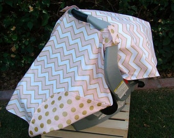 Baby Car Seat Canopy - Baby Car Seat Cover - Girls Pink Gold Car Seat Canopy - Baby Shower Gift