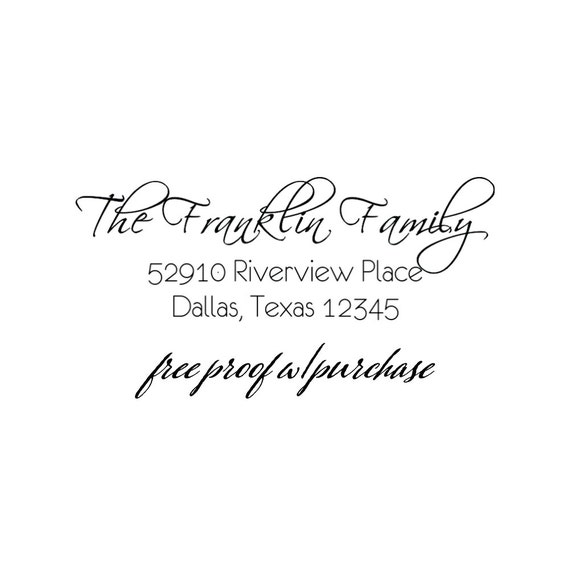 Calligraphy Script Return Address Stamp with the Family's Last Name.  Mounted with a handle or Self-inking Address Stamp (20324) 2 1/2 x 1