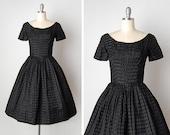 vintage 1950s dress / 50s black gown / 1950s Gigi Young dress / Young Debutante dress
