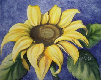 Original Watercolor Painting Yellow Sunflower Nature Floral Flower Garden Art Petals Sunshine 14 x 16 Signed with COA