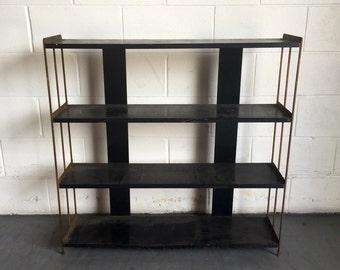 Vintage Industrial Black and Gold Metal Bookshelf