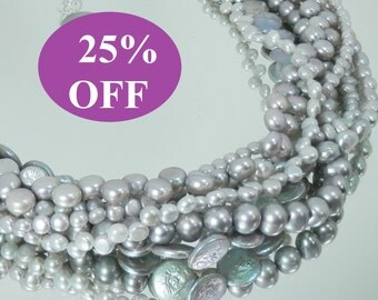 NOW 25% OFF - Change it Up - Silver Grey Freshwater Seven Strand Pearl Necklace