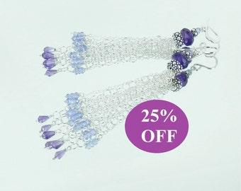 NOW 25% OFF Amethyst and Tanzanite Sterling Tassel Earrings on Sterling Ear Wires