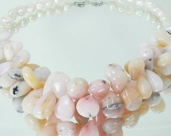 Pink Peruvian Opal Briolette and White Freshwater Pearl Necklace