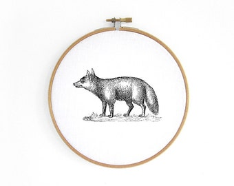 Fox Hoop art // embroidery hoop, vintage graphic, wall decoration art by renna deluxe