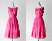RESERVED: 1950's hot pink dress. 50 party dress. full skirt. tulle satin sheer. striped. 50's sleeveless dress. m.