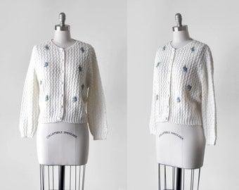 1960 white cardigan. eyelet knit sweater. 60's blue floral cardigan. button down. 60 medium. ivory.