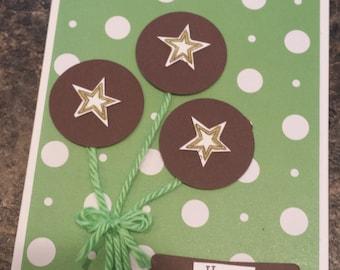 boys green balloon birthday card- free shipping
