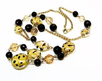 Glass Foil Bead Necklace - Black and gold tone Polkadots Retro Chain - Vintage Design