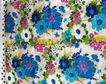Vintage Fabric Vintage Yardage NOS 3.5 Yards MOD Floral Print Pop Art Purple, Blues, Green and Yellow / Vivid Floral Fabric / Hipster