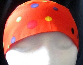 Handmade Orange Chemo Cap or Skull Cap w Colored Dots, Hair Loss, Bald, DoRag, Alupicha,Head Wrap,Bandana, Helmet Liner, Surgical Cap, Hats