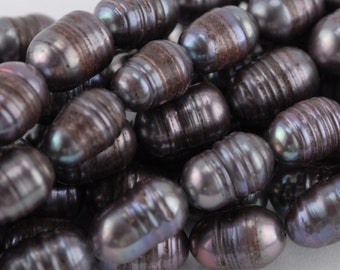 9x6mm Dark Grey Potato Pearl (P23)