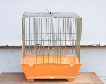 Yellow Vintage Bird Cage, Metal Bird Cage, Square Bird Cage, Kitsch Home Decor, Retro Home, Heart Door, Hanging Birdcage, 1970s