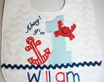 Nautical 1st Birthday Baby Bib, Smash Cake Bib, Baby Boy Bib, Baby Girl Bib, Birthday Bibs, Anchor Baby Bib, Minky Bib