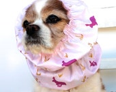 Pink Bunny Dog Snood,  Long Ear Coverup, Cavalier King Charles or Cocker Snood, Easter Spring Snood