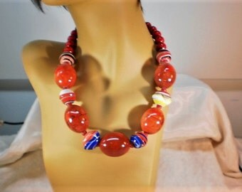 Red Fossil and Porcelain Statement Necklace