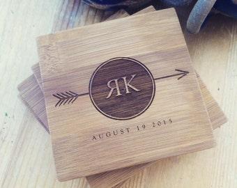 Personalized Coasters Custom Engraved Coaster Set, Monogrammed Coasters, Customized Coasters, Carved Initials, Wedding Gift, Engagement Gift